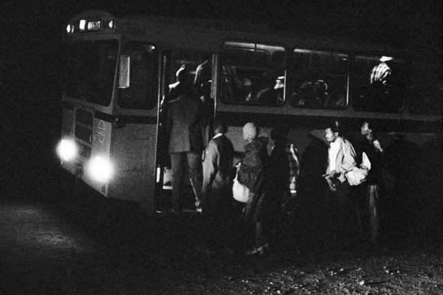 , '2:45 am. Going to work: Boarding the first bus at Mathysloop. It should reach the terminal at Marabastad, in Pretoria, two and a half hours later, at 5:15 am,' 1983, Pace/MacGill Gallery