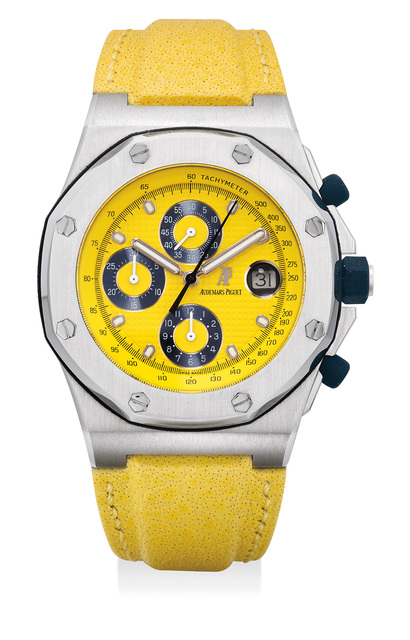 Audemars Piguet, 'A fine and attractive stainless steel chronograph wristwatch with yellow dial, date, Certificate of Origin and presentation box', Circa 2000, Phillips