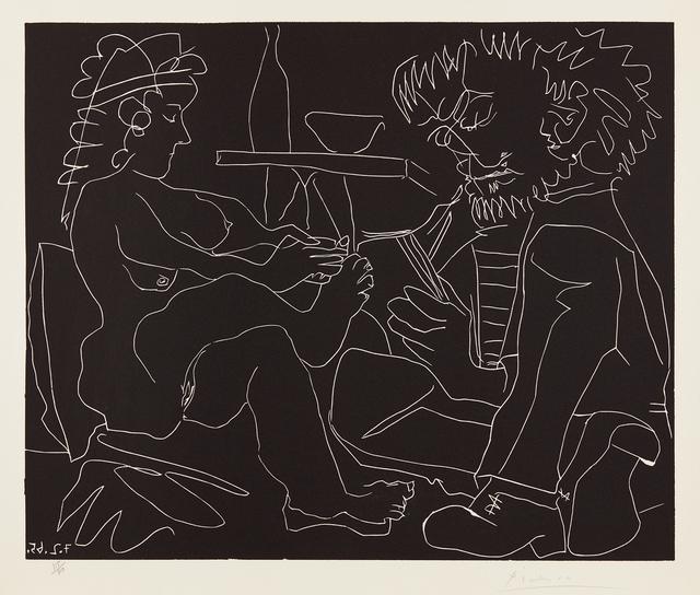 Pablo Picasso, 'Peintre dessinant et modèle nu au chapeau (Painter Drawing a Nude Woman in a Hat)', 1965, Print, Linocut, on Arches paper, with full margins, Phillips