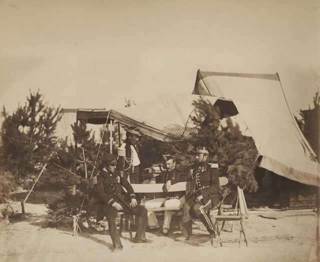 Gustave Le Gray, 'Chalons Encampment Scene: Lieutenant of Champagny , Capitaine Friant, the Prince Murat and Colonel Lepic', 1857/1857, Contemporary Works/Vintage Works