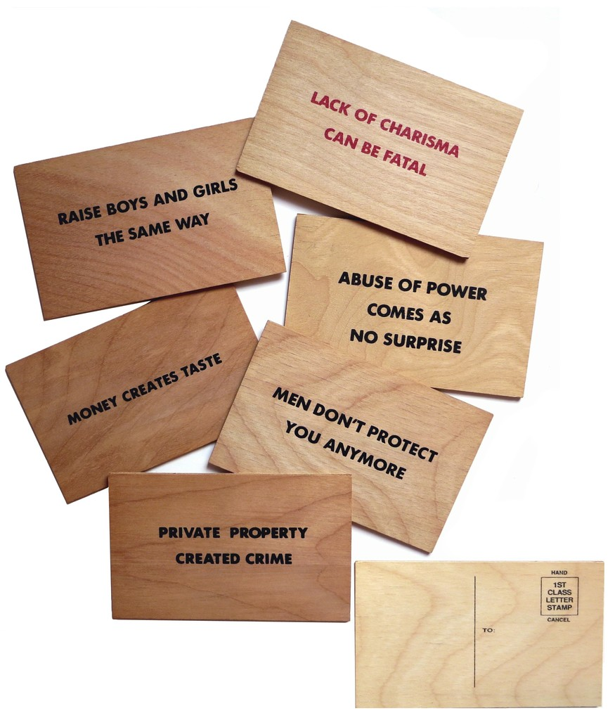 6 postcards with Truisms from Holzer's Truisms series (1977-1979) and Survival series (1983-1985)