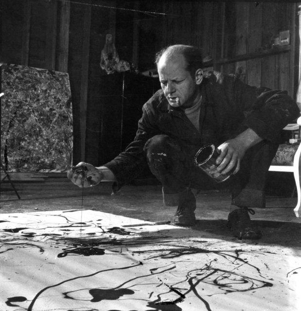 , 'Jackson Pollock in his studio, Springs, Long Island, New York,' 1949, Staley-Wise Gallery