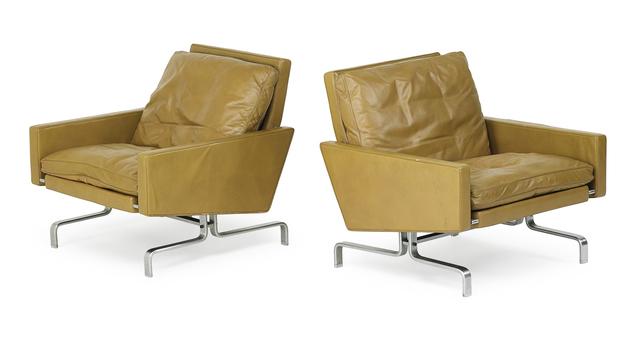 Poul Kjærholm, 'Pair of lounge chairs (PK 31/1)', 1950s, Design/Decorative Art, Matte-chromed steel, leather, Denmark, Rago/Wright