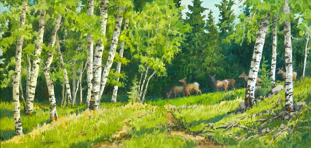 Leon Loughridge, 'Passing Through (herd of deer grazing through forest, aspen groves)', 2019, Ann Korologos Gallery