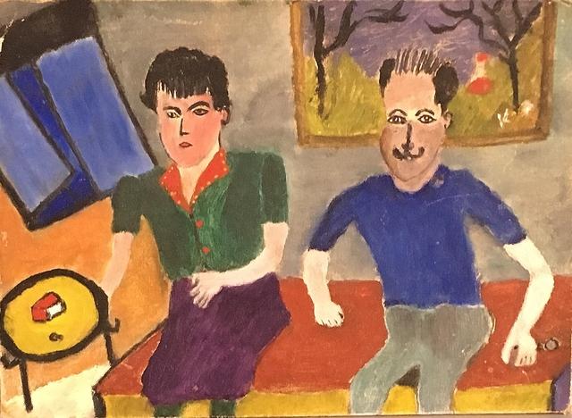 Aristodimos Kaldis, 'Seated Couple', 1946, Lawrence Fine Art