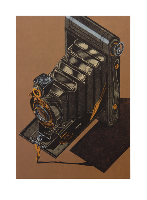 Robert Cottingham, 'HAWK-EYE (brown background)', 2014, Tandem Press
