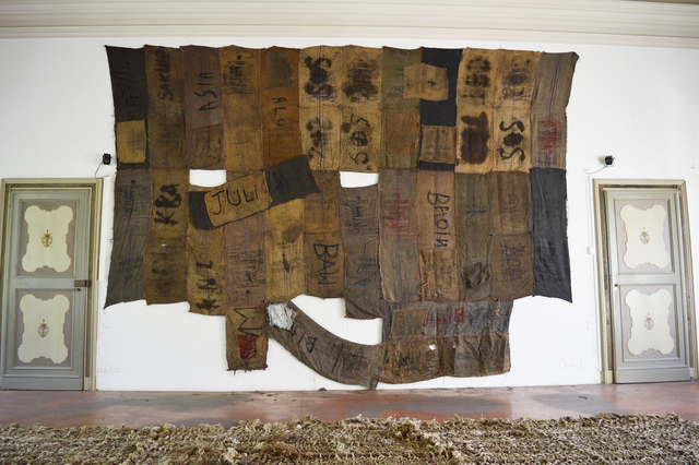 Ibrahim Mahama, 'JULI BAW', 2015, Installation, Coal sacks, dye sack with makings and screen print