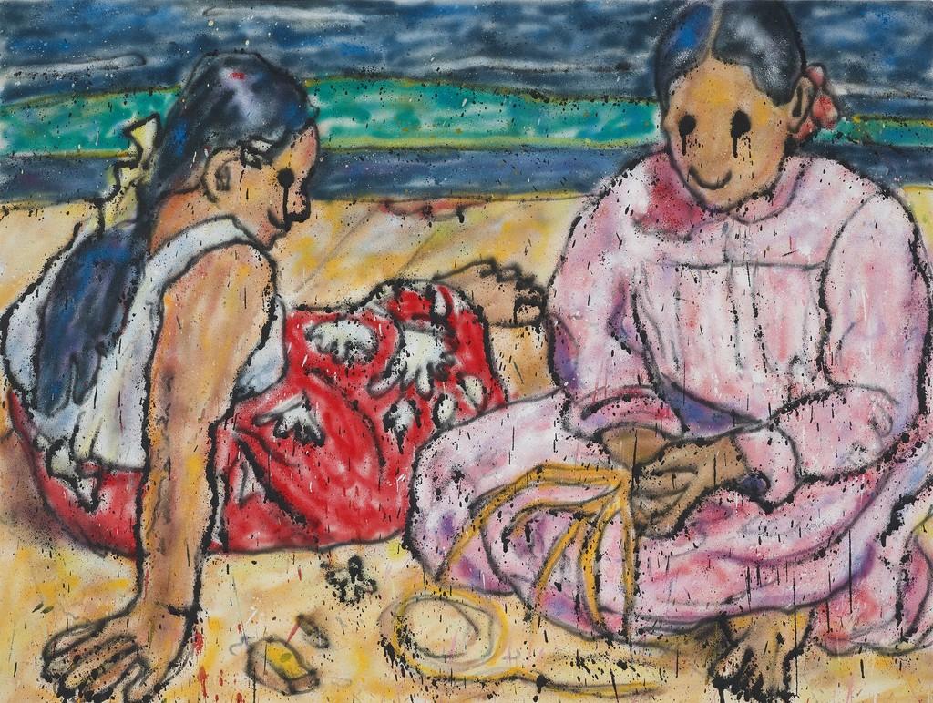 Tahitian Women II, 2018  Acrylic paint, aerosol on canvas 69 x 91,5 cm | 27 3/16 x 36 1/16 in