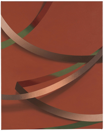 """Tomma Abts, Weie, 2017 Acrylic & oil on canvas 48 × 38 cm, 18 7/8"""" × 15"""" Courtesy Collection of Danny and Lisa Goldberg"""