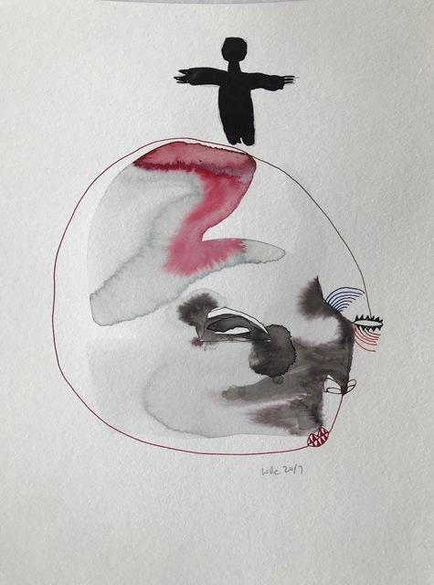 Wole Lagunju, 'Figure atop a face ', 2017, Ed Cross Fine Art