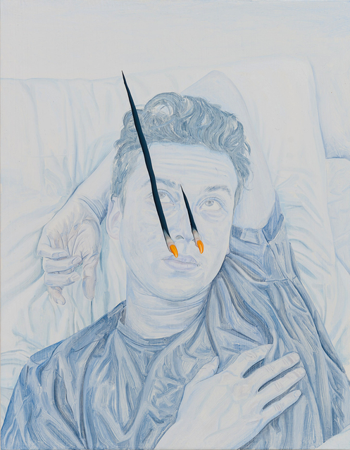 , 'Flimsy Film, Pierced Image: A Portrait Painting of My Friend Alex as a Retinal Stain Being Pierced by Two Fingers or Claws,' 2018, ALICE BLACK