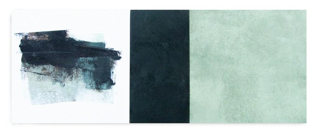 "Janice Mason Steeves ""Iceworks 28"" 12"" x 30"" oil, cold wax, sand on panel"