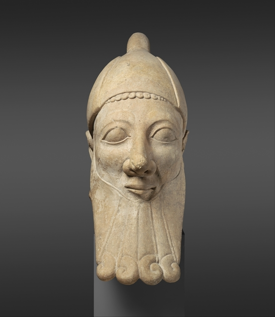 Unknown Cypriot, 'Limestone head of a bearded man', early 6th century B.C., The Metropolitan Museum of Art