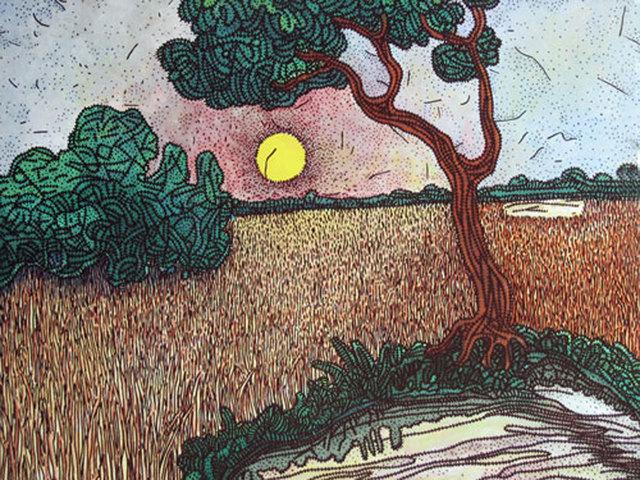 , 'Landscape, Mixed Media in green, brown & yellow by Master Indian Artist Prakash Karmakar,' 2005, Gallery Kolkata