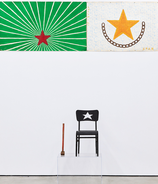 , 'Untitled (union chair with star paintings),' 2017, Nicodim Gallery