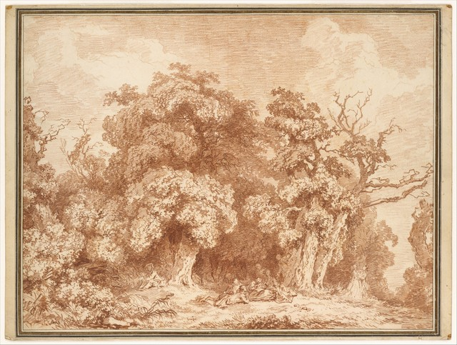 Jean-Honoré Fragonard, 'A Gathering at Wood's Edge', ca. 1770–1773, Drawing, Collage or other Work on Paper, Red chalk, The Metropolitan Museum of Art