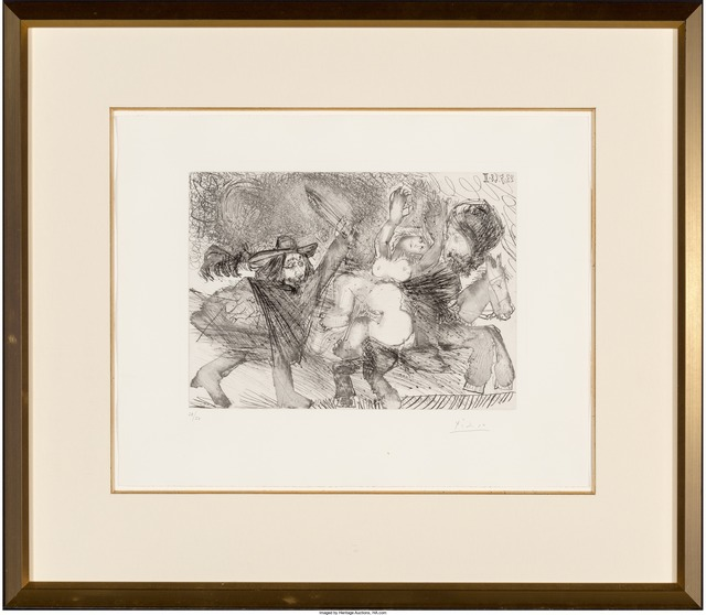 Pablo Picasso, 'Mameluk enlevant une femme, pl. 106, from Séries 347', 1968, Print, Etching with drypoint on, Heritage Auctions