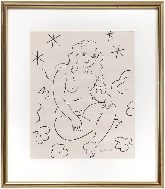 Wayne Ensrud, 'Sitting Nude, Drawing in Ink', Late 20th Century, Lions Gallery