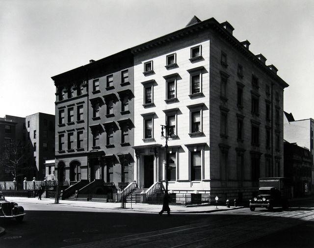 ", 'Fifth Avenue Houses #4, 6 and 8 (from the series ""Changing New York""),' 1936, Bookstein Projects"
