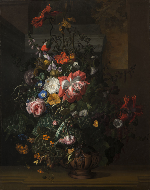 , 'Roses, Convolvulus, Poppies, and Other Flowers in an Urn on a Stone Ledge,' ca. 1680s, National Museum of Women in the Arts