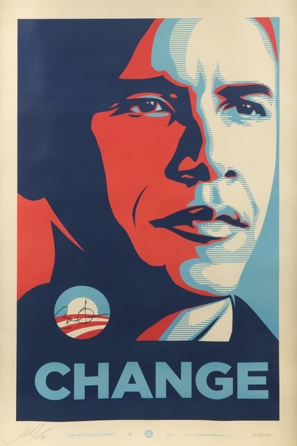 Shepard Fairey, 'CHANGE (officially signed by US President Barack Obama and Shepard Fairey)', 2008, EHC Fine Art