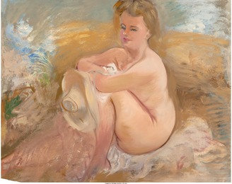 Sitting Nude with Summer Hat