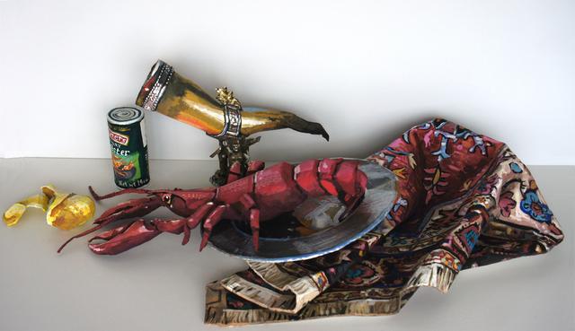 , 'Lemon, Lobster (after Kalf), Silver Platter (after Kalf), Luxury Lobster, Drinking Horn, Carpet,' 2018, Quint Gallery