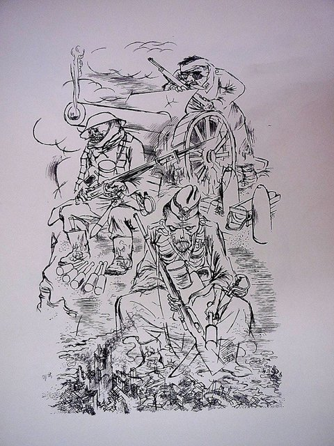 George Grosz, '1936 Lithograph Soldier on Horse with Gas Mask small edition', Lions Gallery