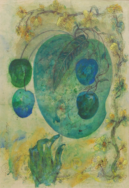, 'Mother & Child II by Artist Sunil Das, Mixed media in Green and Blue,' 2007, Gallery Kolkata