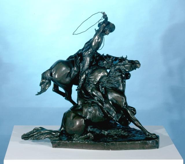 , 'Lassoing Wild Horses,' 1898, Blanton Museum of Art