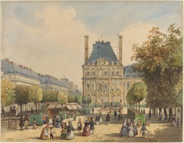 François Etienne Villeret, 'Rue de Rivoli and Pavillon Marsan', Drawing, Collage or other Work on Paper, Watercolor over graphite on wove paper, National Gallery of Art, Washington, D.C.