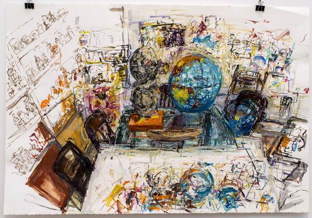 Judy Glantzman, 'Globe and Double Heads', 2014, Betty Cuningham