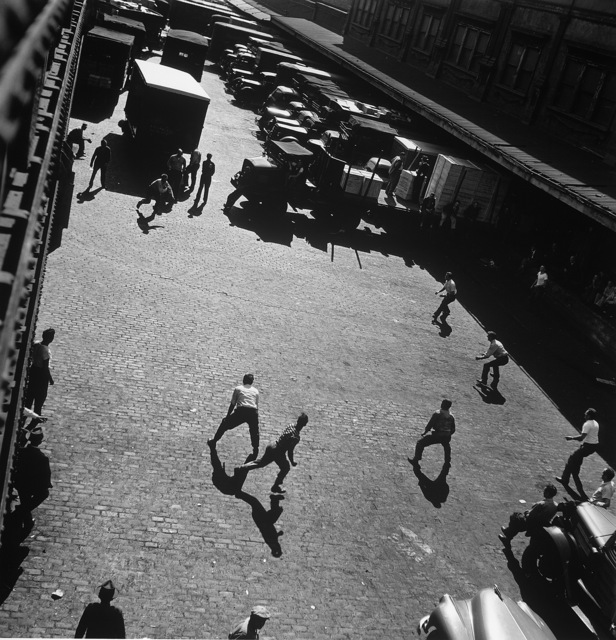 Andreas Feininger, 'Playing ball outside entrances to Hudson River, NY', 1949, Atlas Gallery