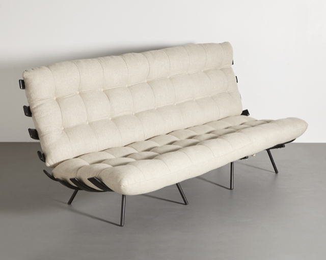 "Martin Eisler, '""Costela"" settee in wood with wrought iron frame and upholstered cushions. ', 1950s, R & Company"