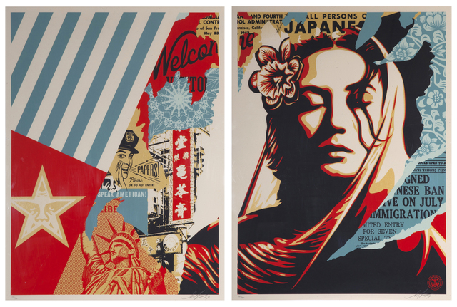 Shepard Fairey, 'Welcome Visitor Diptych', 2017, Samhart Gallery