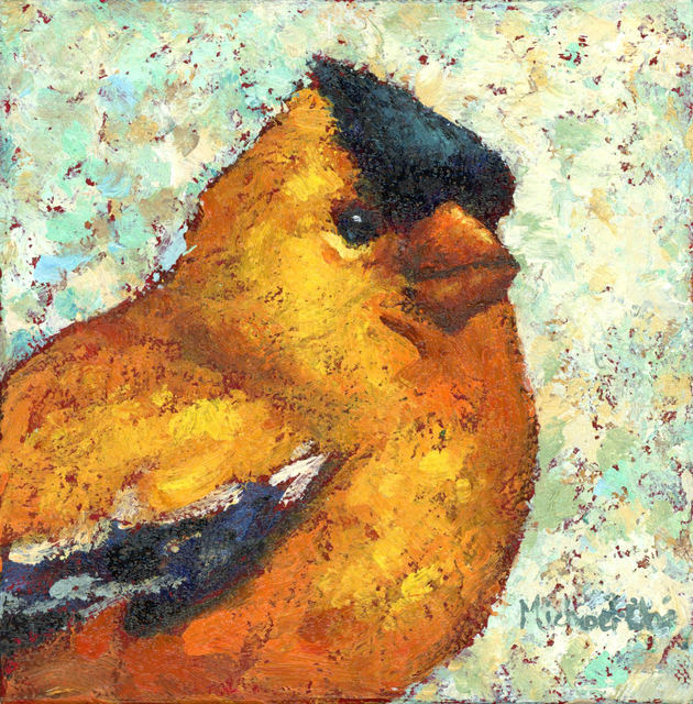 """Michael-Che Swisher, '""""Lots of Laughs"""" Oil portrait of a yellow and back bird with yellow and green background', 2019, Eisenhauer Gallery"""