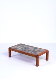 T18 coffee table in enamelled lava and elm