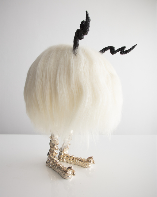 """, 'Unique """"Michael Bolt-horn"""" Mini Beast in white Icelandic Sheepskin, with silver-plated cast bronze """"Pickle Toe"""" feet, and carved ebony horns,' 2017, R & Company"""