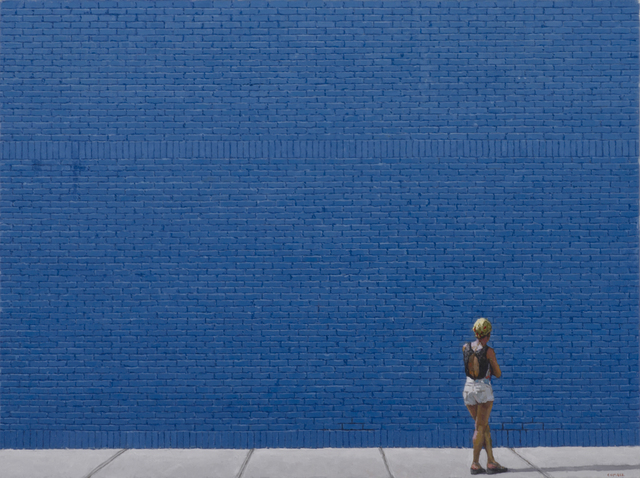 , 'Woman and Blue Wall,' 2018, Gallery Henoch
