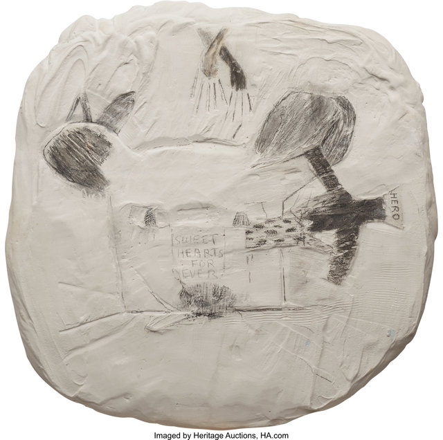 Joan Brown, 'Sweet Hearts Forever', circa 1960, Mixed Media, Graphite on plaster on wooden base, Heritage Auctions