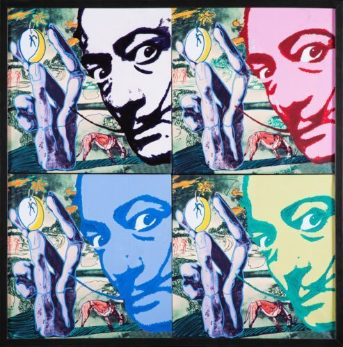 Steve Kaufman, 'Hommage 2 Salvador Dali Quad Original Oil Painting Signed Original', 1996, Modern Artifact