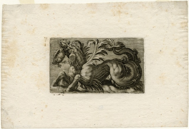 , 'Sea Monster with a Water Fowl in its Mouth,' 1580-1610, Bowdoin College Museum of Art