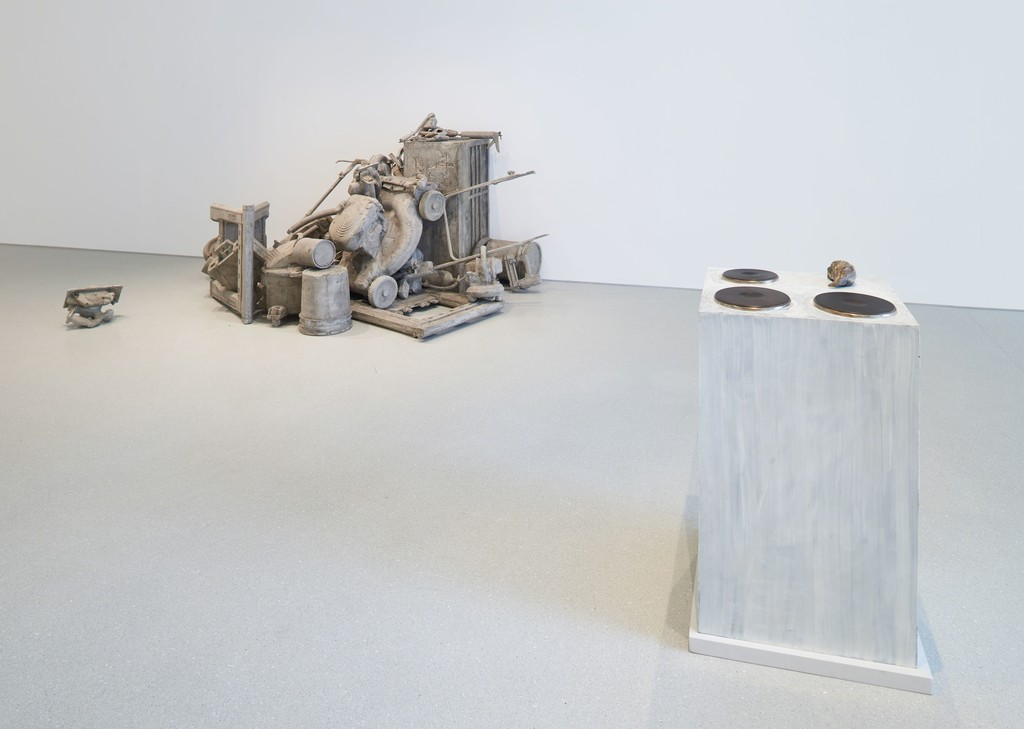 Installation view. Artwork, left to right: © Josh Kline; © 2019 Rosemarie Trockel/Artists Rights Society (ARS), New York. Photo: Glen Cheriton. Courtesy Gagosian.