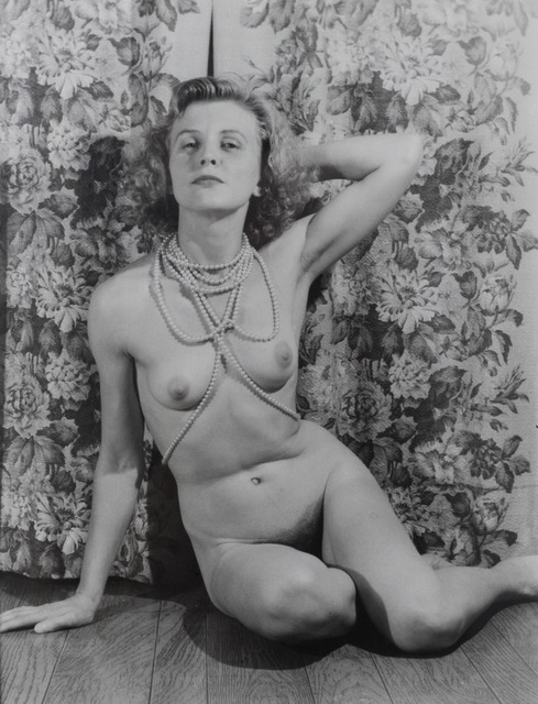 , 'Untitled (Marie nude with pearls, arm behind head, looks to viewer),' ca. 1940, Adams and Ollman