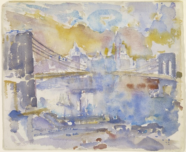 John Marin (1870-1953), 'Brooklyn Bridge', 1912, Painting, Watercolor and graphite on paper, Colby College Museum of Art