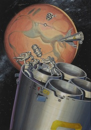 [NASA MISSION TO MARS] UNTITLED EARLY DEPICTION BY AN UNIDENTIFIED ARTIST OF A NASA MISSION TO MARS, CA. 1960
