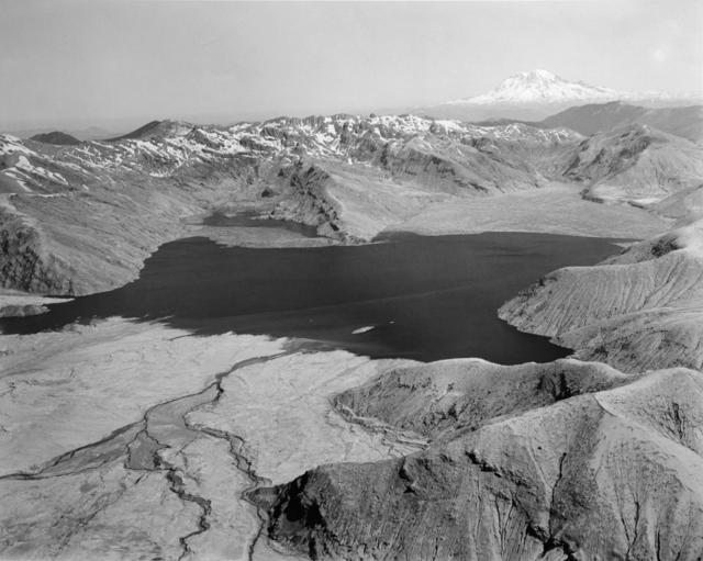 , 'Aerial view: Spirit Lake from the South, Mt. Rainier on horizon, 50 miles away (North end of lake filled with logs from eruption),' 1982, Etherton Gallery