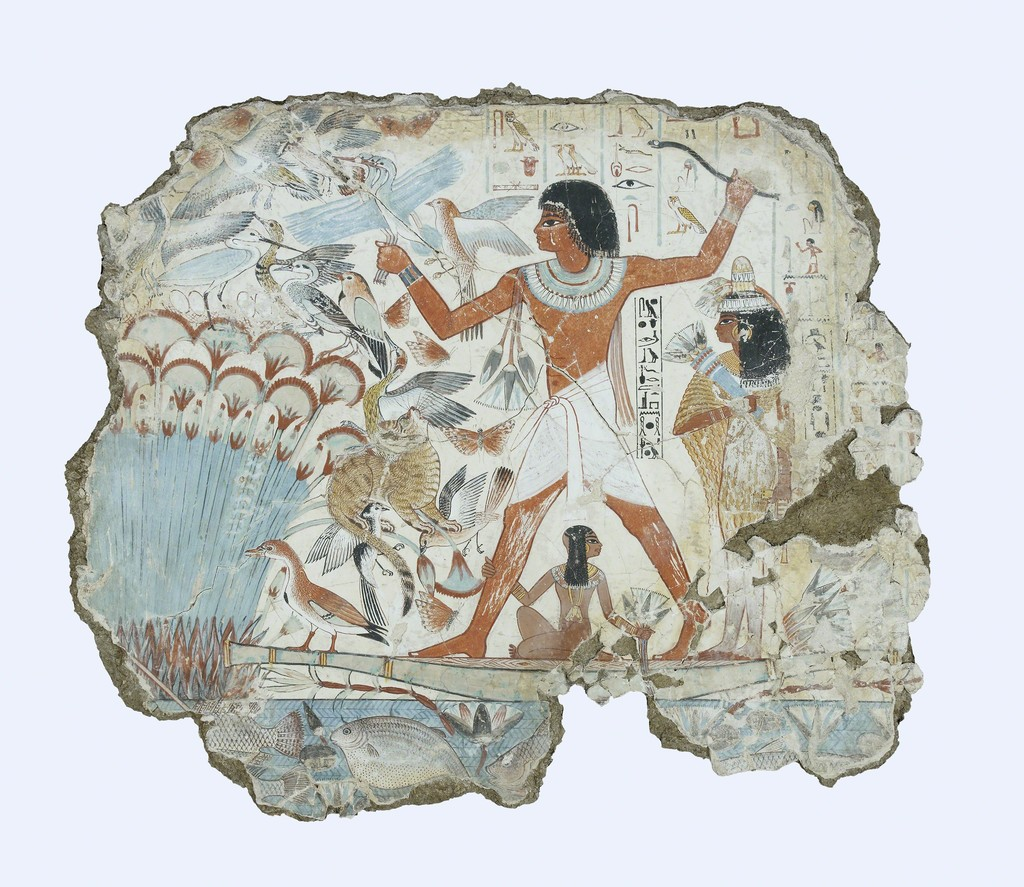 Nebamun hunting in the marshes, fragment of a scene from the tomb-chapel of Nebamun