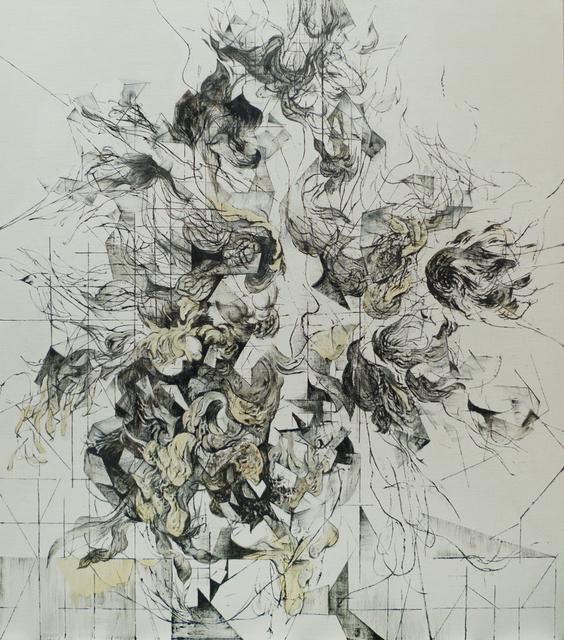 Zelin Seah, 'Flowers in a Vase Version A', 2014, Painting, Bitumen offset ink and oil on linen, Taksu