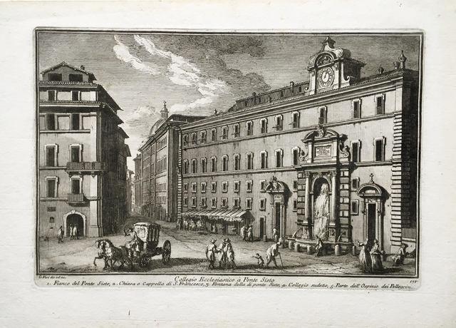 Giuseppe Vasi, 'Collegio Ecclesiastico a Ponte Sisto. Plate 177 from Delle Magnificienze di Roma Antica e Moderna', 1747-1761, Print, Etching, Pia Gallo